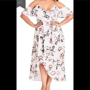 City Chic Champagne Rose Cold Shoulder Maxi